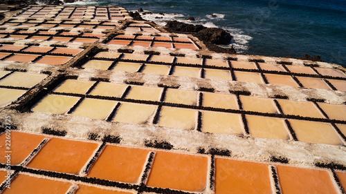 Tuinposter Canarische Eilanden Salt Mining on Ocean Salt Flats La Palma Island Canaries Spain