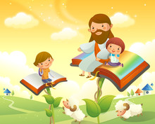 Jesus Christ Sitting With Two Children On Books