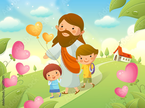 Fotomural Jesus Christ walking with two children