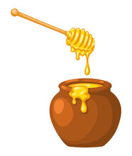 Cartoon Clay Pot Of Honey With...