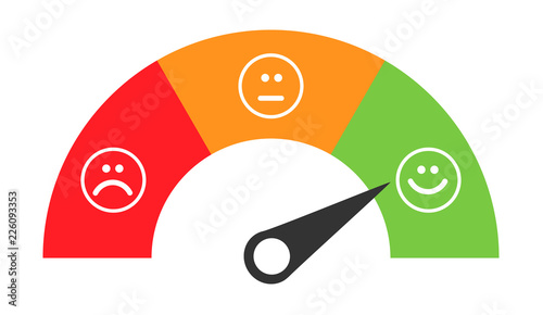 Fotografia  Customer icon emotions satisfaction meter with different symbol on background