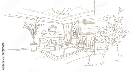 Foto op Canvas Drawn Street cafe Interiors of a living room