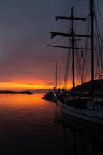 Sailboat At Sunset.