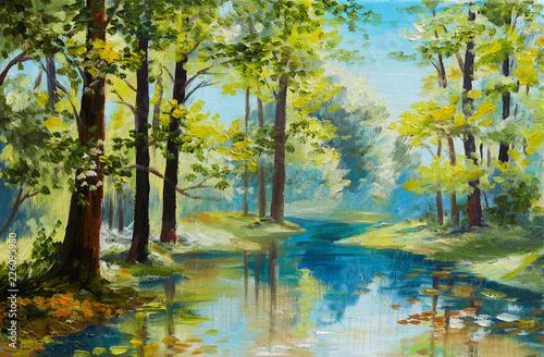 obraz-olejny-krajobraz-rzeka-w-lesie-letni-dzien