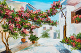 oil painting - house near the sea, colorful flowers and trees, summer seascape - 226096122