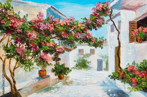 obraz-olejny-dom-blisko-morza-kolorowe-kwiaty-i-drzewa-krajobraz-lato