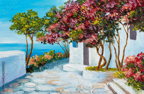 Fototapety, obrazy: oil painting - house near the sea, colorful flowers and trees, summer seascape