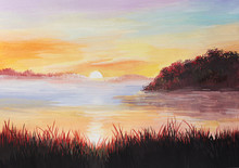 Painting Sunrise On The Lake With The Reeds, Colorful Impressionism