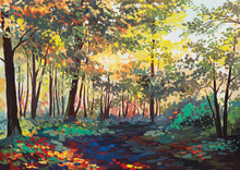 Colorful Forest With Trees In Spring At Sunset, Oil Painting