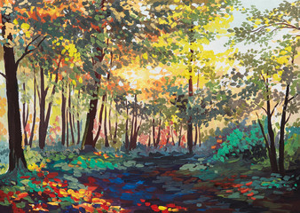 Fototapeta Las colorful forest with trees in spring at sunset, oil painting
