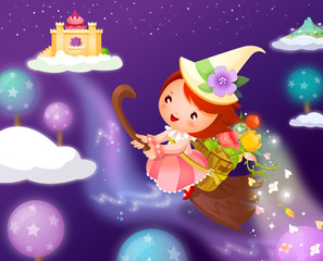 Girl flying on a broom and carrying flowers in a basket