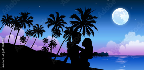 Photo Silhouette of a couple embracing on the beach
