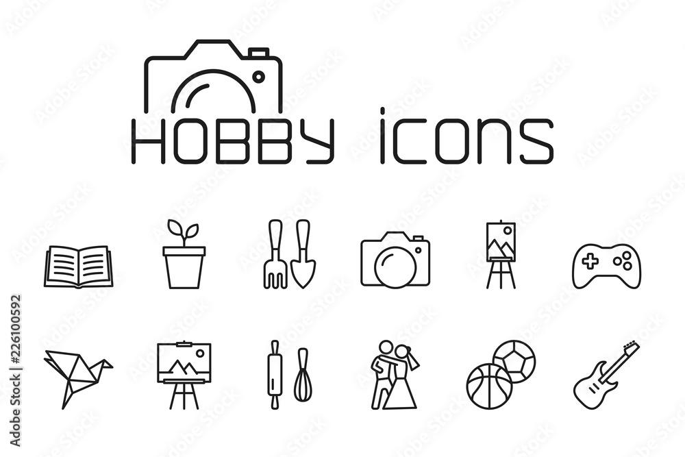 Fototapety, obrazy: line hobby icons set on white background