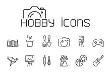 Line Hobby Icons Set On White ...