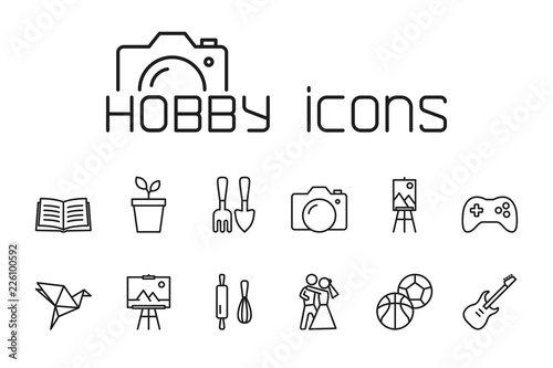 line hobby icons set on white background Canvas Print