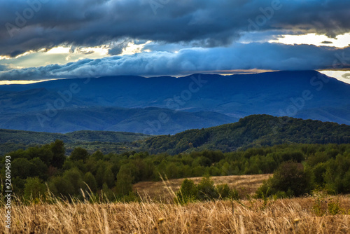 Spoed Foto op Canvas Nachtblauw Sunset in the Carpathian mountains