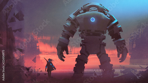 Photo giant robot and its owner looking at a ruined city at sunset, digital art style,