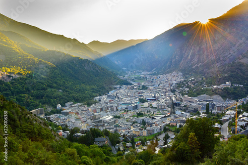 Cityscape in Summer of Andorra La Vella, Andorra. Canvas Print