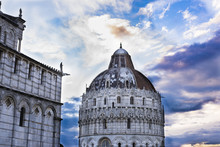 Detail Of The Baptistery And The Cathedral In Piazza Dei Miracoli, Pisa