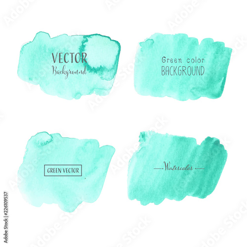 Mint Watercolor Background Pastel Watercolor Logo Vector