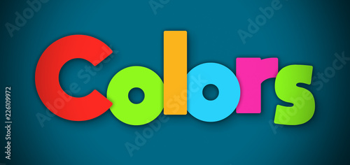 Valokuva  Colors - overlapping multicolor letters written on blue background