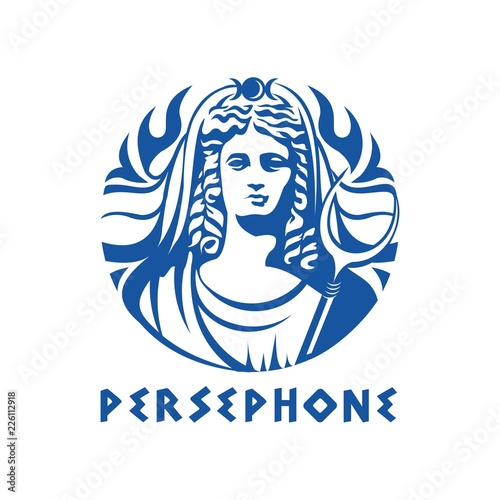 Carta da parati Greek goddess Persephone illustration