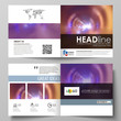 Business templates for square bi fold brochure, magazine, flyer, booklet or annual report. Leaflet cover, abstract vector layout. Bright color colorful design, beautiful futuristic background.