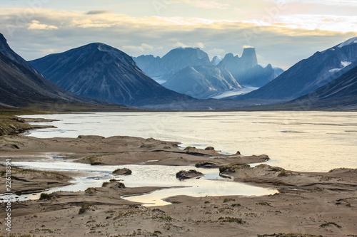 Photo  Looking across the Weasel River towards Mount Asgard, Baffin Island, Nunavut