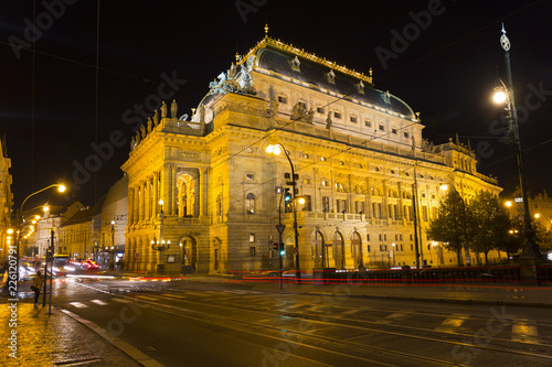 In de dag Theater The night View on the Prague National Theater above the River Vltava, Czech Republic