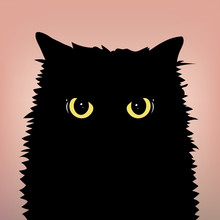 Angry Black Cat Face With Big Eyes On The Peach Color Background. Yellow Cat's Eyes. Flat And Minimal Style. Vector Illusatration.
