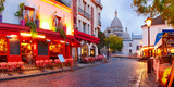Fototapeta Fototapety Paryż - The Place du Tertre with tables of cafe and the Sacre-Coeur in the morning, quarter Montmartre in Paris, France