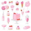 Pink food vector pinkish cake with sweet strawberry dessert with pinky drinks on birthday party illustration girlish set of donut or ice cream isolated on white background