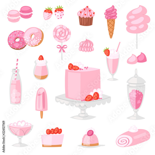 Pink food vector pinkish cake with sweet strawberry dessert with pinky drinks on Fototapeta