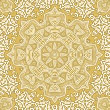Seamless Round Snowflake Mandala Pattern