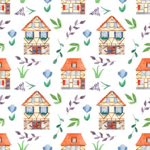 Watercolor Seamless Pattern With Cute Sweet Houses, Leaves, Flowers. Illustration Of A European City With Half-timbered Houses For Wallpaper, Scrapbook, Cards, Invitations, Fabrics.
