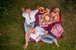 canvas print picture top view of couple enjoying picnic time