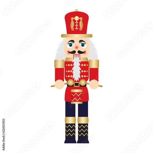Fotomural Vector illustration christmas nutcracker toy soldier traditional figurine isolat