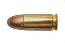 Isolated 9mm Bullet On White Background