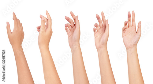 Leinwand Poster Set of Woman hand isolated on white background.