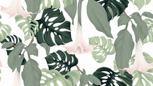 Floral Seamless Pattern, Brugmansia Or Angels Trumpet Flowers And Split-leaf Philodendron Plant On Light Gray Background, Pastel Vintage Theme