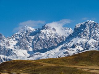snow-covered landscape of qilian moutains