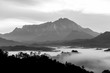 Majestic beautiful Mount Kinabalu in Black and white
