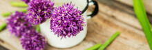 Closeup Of Flowering Chives Wi...