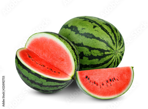 whole and half  watermelon with slice isolated on white background