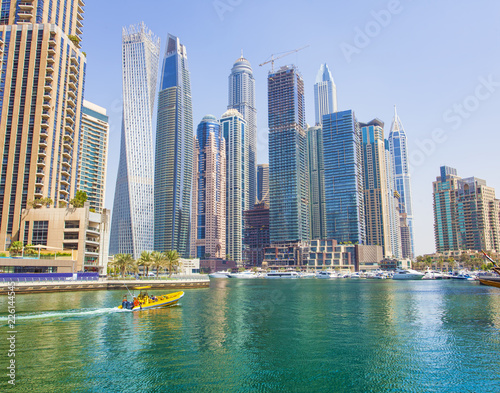Wall Murals Moscow boats and modern buildings in Dubai Marina, United Arab Emirates