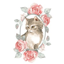 Cat. Cute Kitten And Roses. Wa...