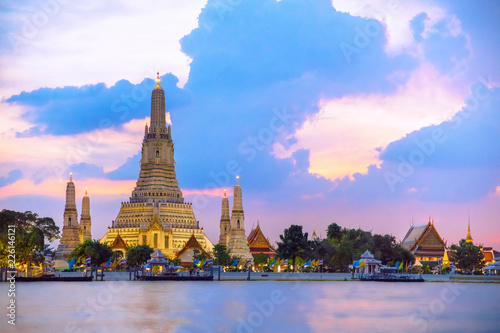 Wat Arun temple during sunset in bangkok,Thailand,one of famous landmark of Bangkok,Thailand.