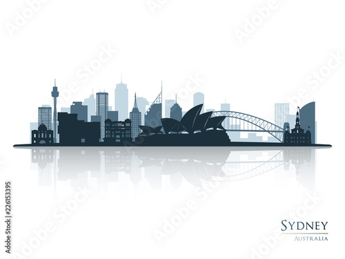 Canvas Print Sydney blue skyline silhouette with reflection