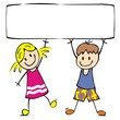Happy kids with banner. Creative funny illustration. Concept for marketing campaign. Vector icon, single object.