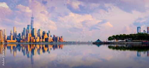 Fototapeten New York Manhattan downtown skyline with urban skyscrapers over Hudson river ,Manhattan Skyline